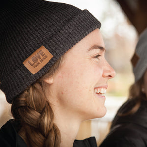 LoveYourBrain Leather Patch Beanies