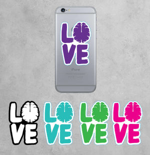 Love Your Brain Stacked Die Cut Sticker with Border
