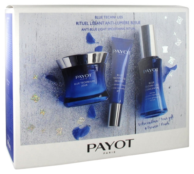 PAYOT BLUE TECHNI LISS SET ANTI-BLUE LIGHT SMOOTHING RITUAL WITH FREE POUCH
