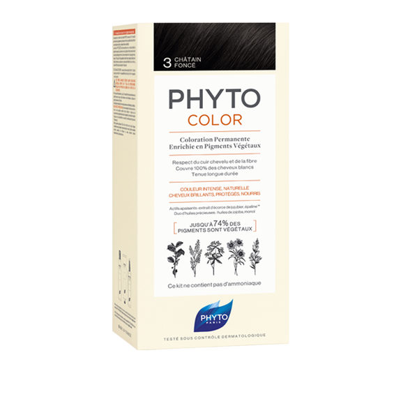PHYTOCOLOR Permenant Home Hair Colour SHADE 3 (Dark Brown)Cosmetics Online IE