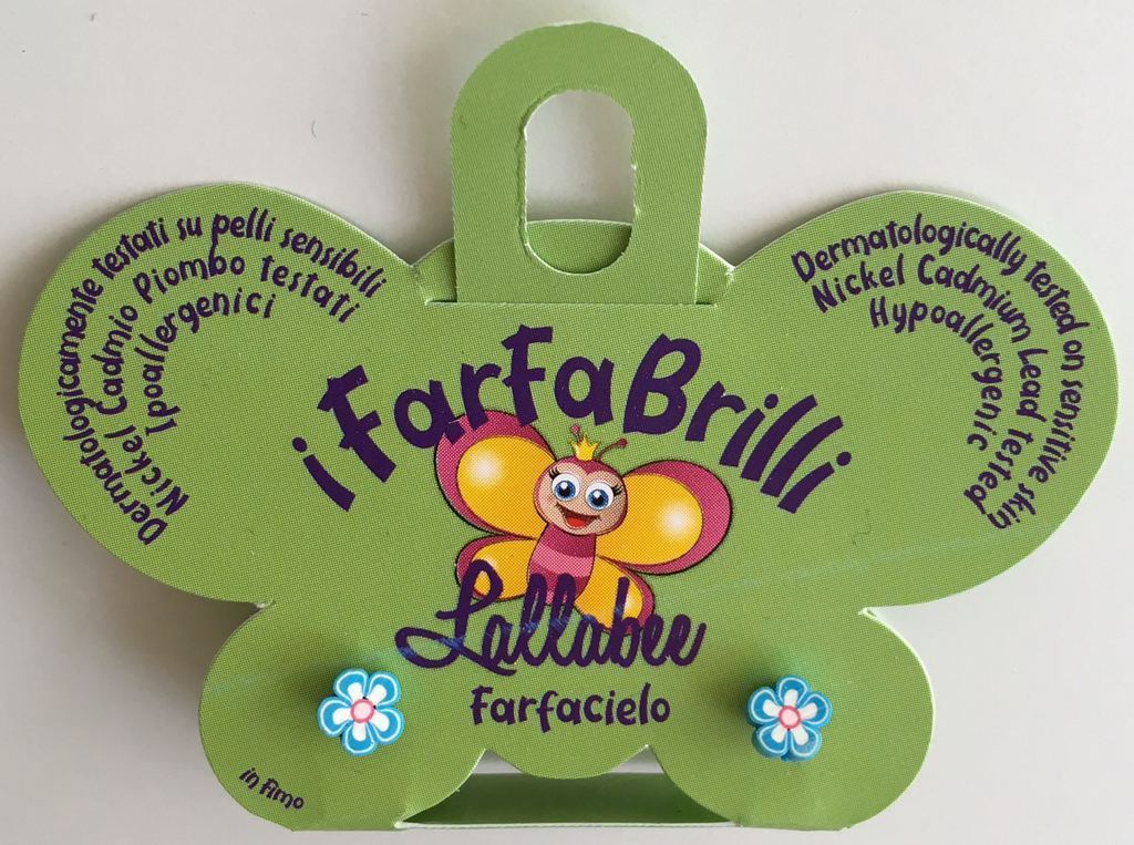 LALLABEE- Farfabrilli Earrings for children ( Farfacielo) BLUE FLOWERCosmetics Online IE