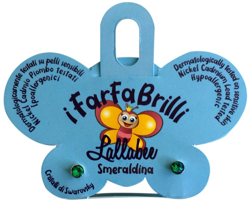 LALLABEE- Farfabrilli Earrings for children (Smeraldina) GREEN STONECosmetics Online IE