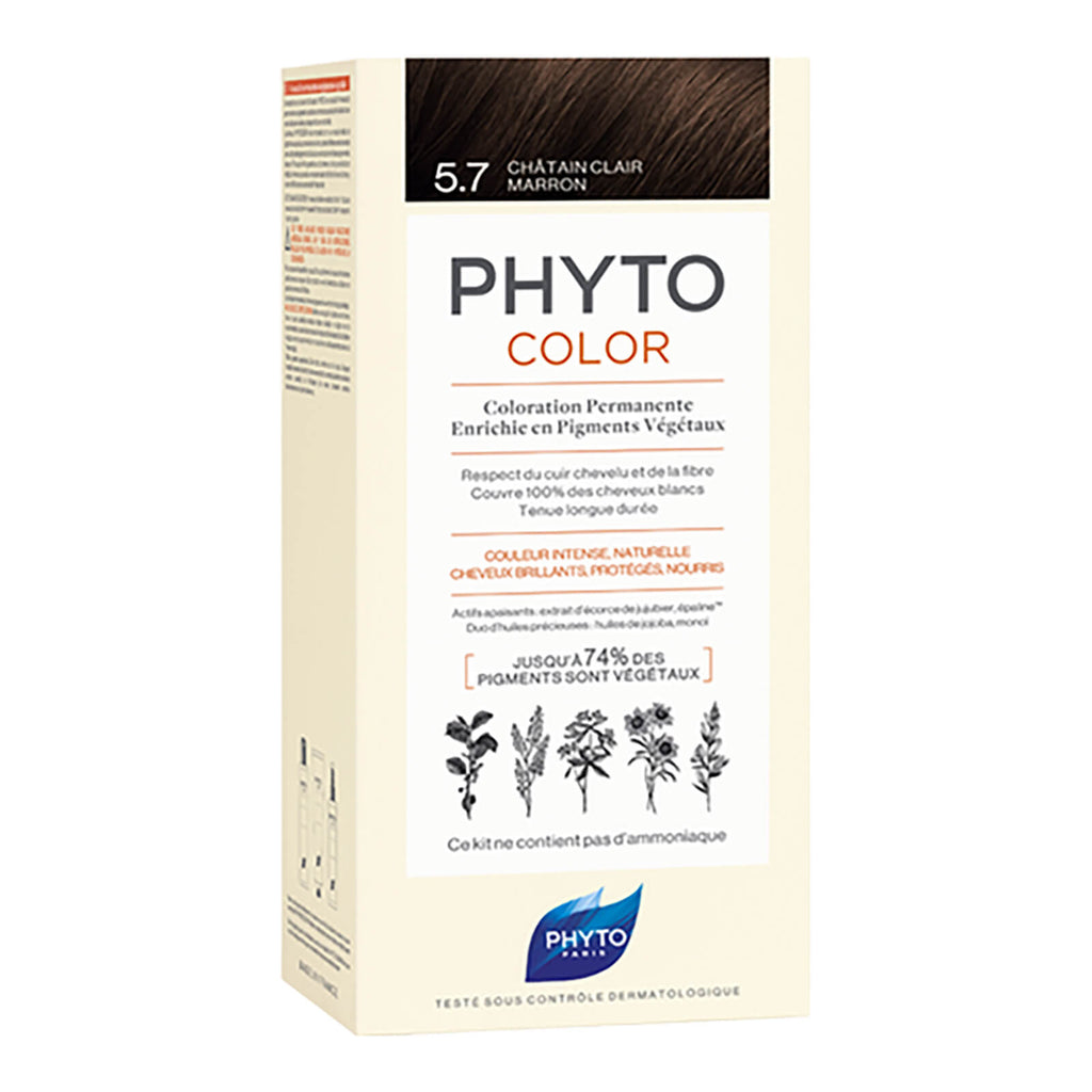 PHYTOCOLOR Permanent Home Hair Colour Kit Light Chestnut ( Shade 5.7)Cosmetics Online IE