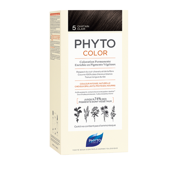 PHYTOCOLOR Permanent Home Hair Colour Kit Light Brown ( Shade 5)Cosmetics Online IE