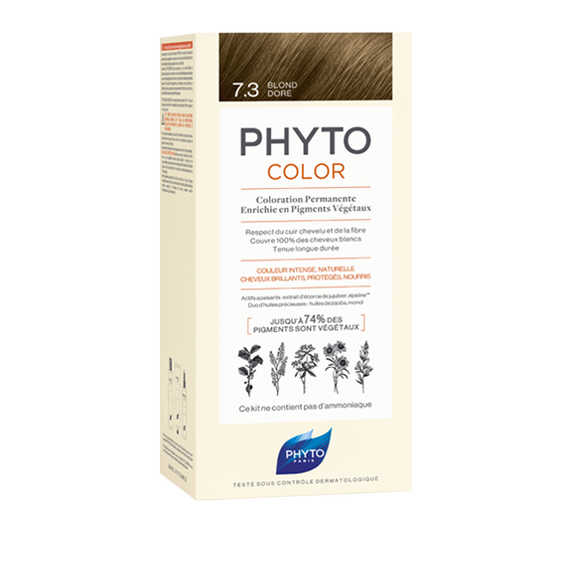 PHYTOCOLOR Permanent Home Hair Colour Kit Golden Blonde ( Shade 7.3 )Cosmetics Online IE