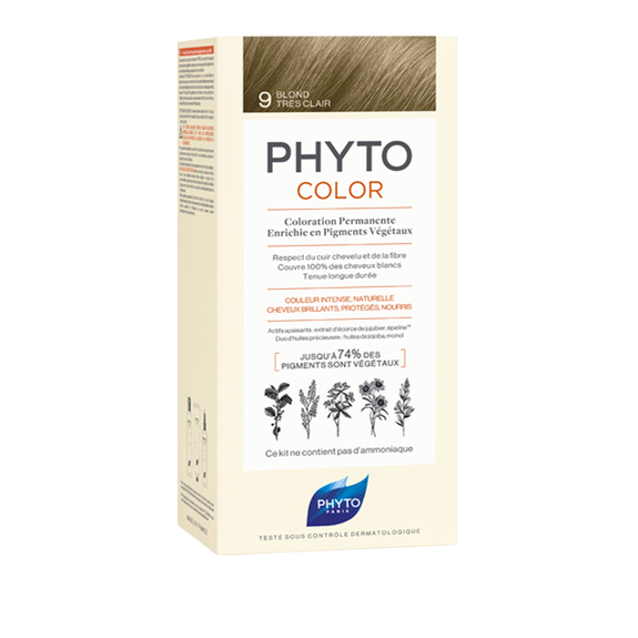 PHYTOCOLOR Permanent Home Hair Colour Kit Very Light Blonde ( Shade 9 )Cosmetics Online IE