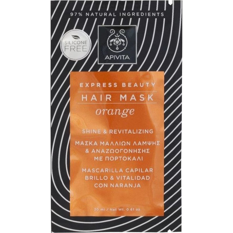 Apivita Express Hair Mask Orange Shine & Revitalizing Hair Mask 20ml