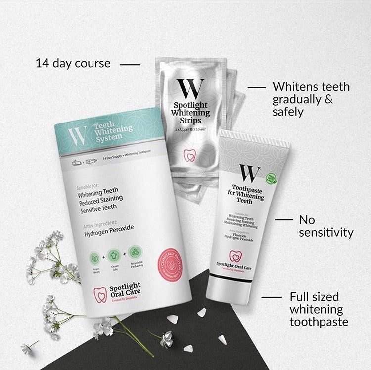 Spotlight Teeth Whitening Strips and Free Full Size Tooth Paste