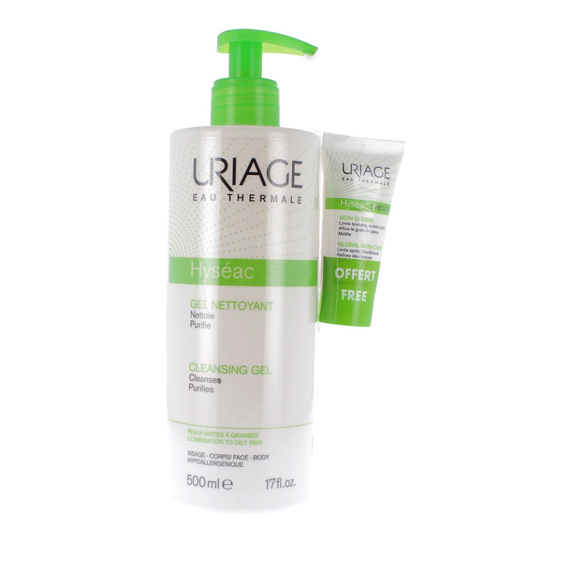 Uriage Promo Hyséac Cleansing Gel 500ml & Hyséac 3-Regul Global Skin Care 15ml