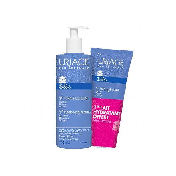 URIAGE Baby's 1st Soap-free Foaming Cleansing Cream 500ml + Uriage Baby 1st Moisturising Milk 200ml