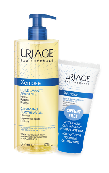 Uriage Xemose Cleansing Soothing Oil 500ml + Uriage Anti-Itch Soothing Oil Balm 50ml
