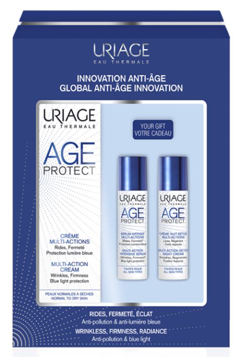 Uriage Age Protect Kit: Cream 40ml + Serum 10ml + Detox 10ml