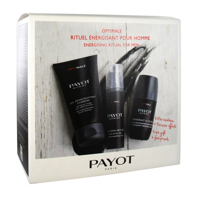 Payot Mens Optimale Energising Ritual Set( Free Deod & Pouch inc)Cosmetics Online IE