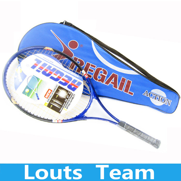 1 Pcs Regail Sports Tennis Racket Aluminum Alloy Adult Racquet with Racquet Bag for Beginners with Blue Color