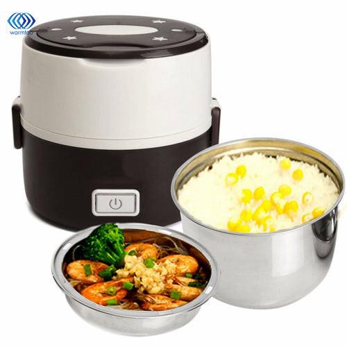 Rice Cooker Stainless Steel Liner Portable Mini Electric Steamer Food Container Thermal Lunch Box Picnic Bento Household