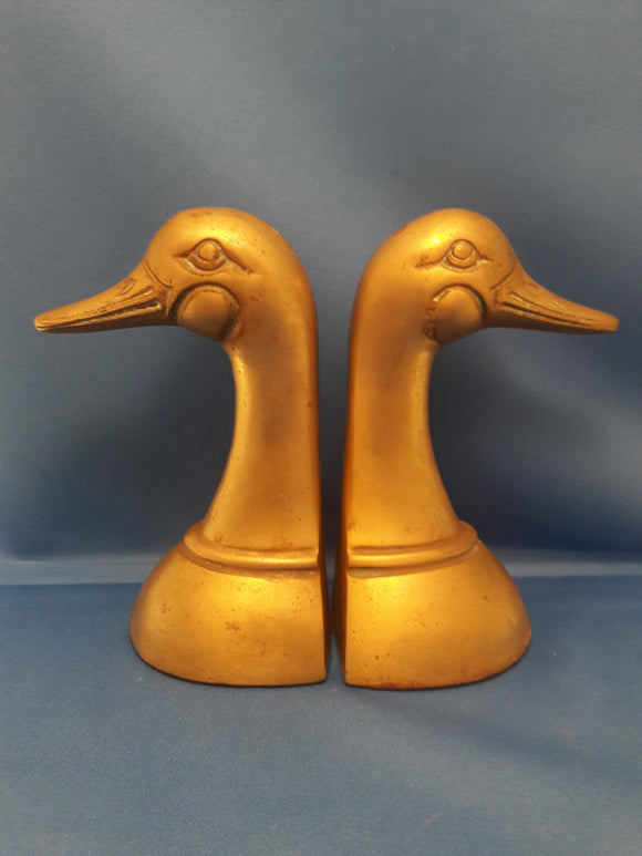 Leonard Brass Mallard Ducks Pair of Bookends Vintage Brass Library Decor
