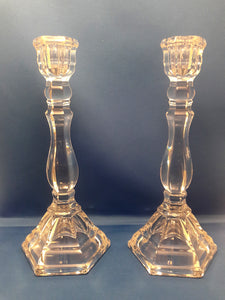 Tiffany & Co Candlestick Pair 9 inch Hampton Cut Crystal