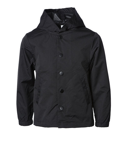 Youth Water Resistant Hooded Windbreaker Coaches Jacket