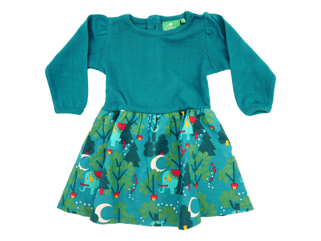 "Little Green Radicals - Robe verte ""pin"" avec motif éléphant"