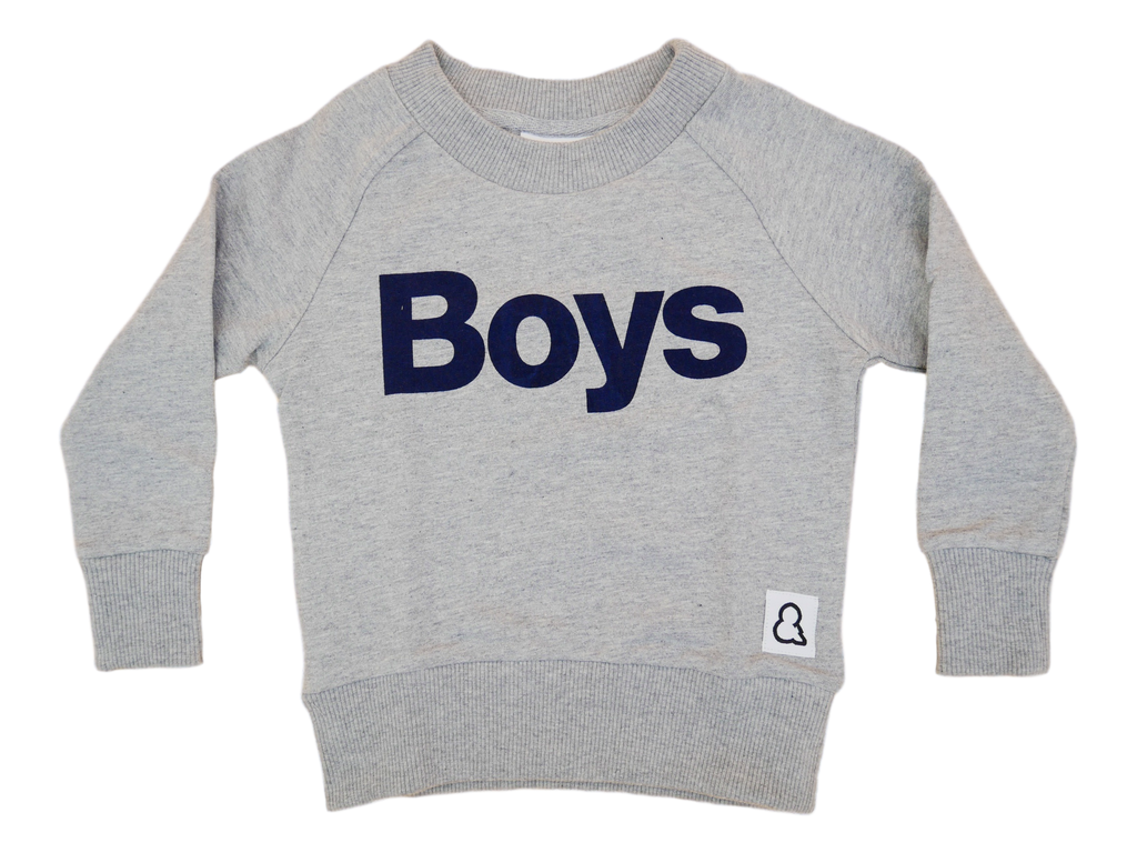 "Boys&Girls - Pull à imprimé ""Boys"" gris chiné"