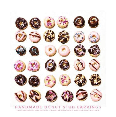 OMG Donut Earrings | Polymer Clay Miniature Food Earring