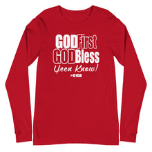 Load image into Gallery viewer, God First God Bless Long Sleeve Tee (White Print)