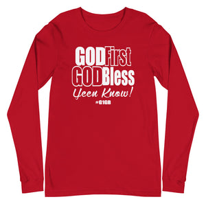 God First God Bless Long Sleeve Tee (White Print)