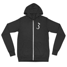 "Load image into Gallery viewer, ""3"" Zip Up hoodie (White Print)"