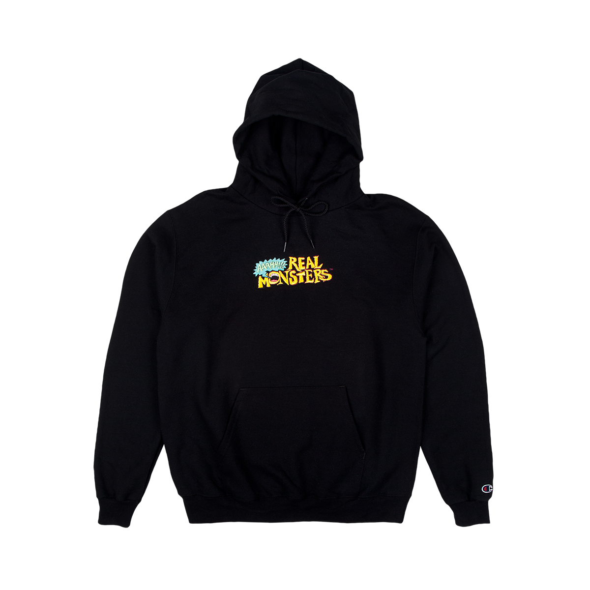 Ahh! Real Monsters Embroidered Champion Hoodie Black