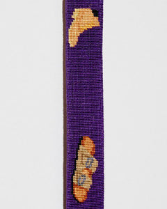 FOOTWEAR NEEDLEPOINT BELT IN PURPLE