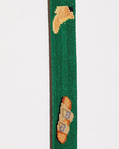 FOOTWEAR NEEDLEPOINT BELT IN GREEN
