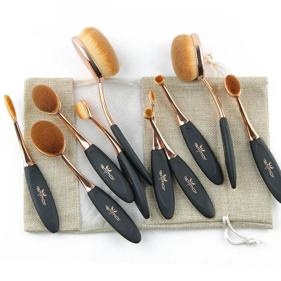 10 Pcs Oval Makeup Brushes
