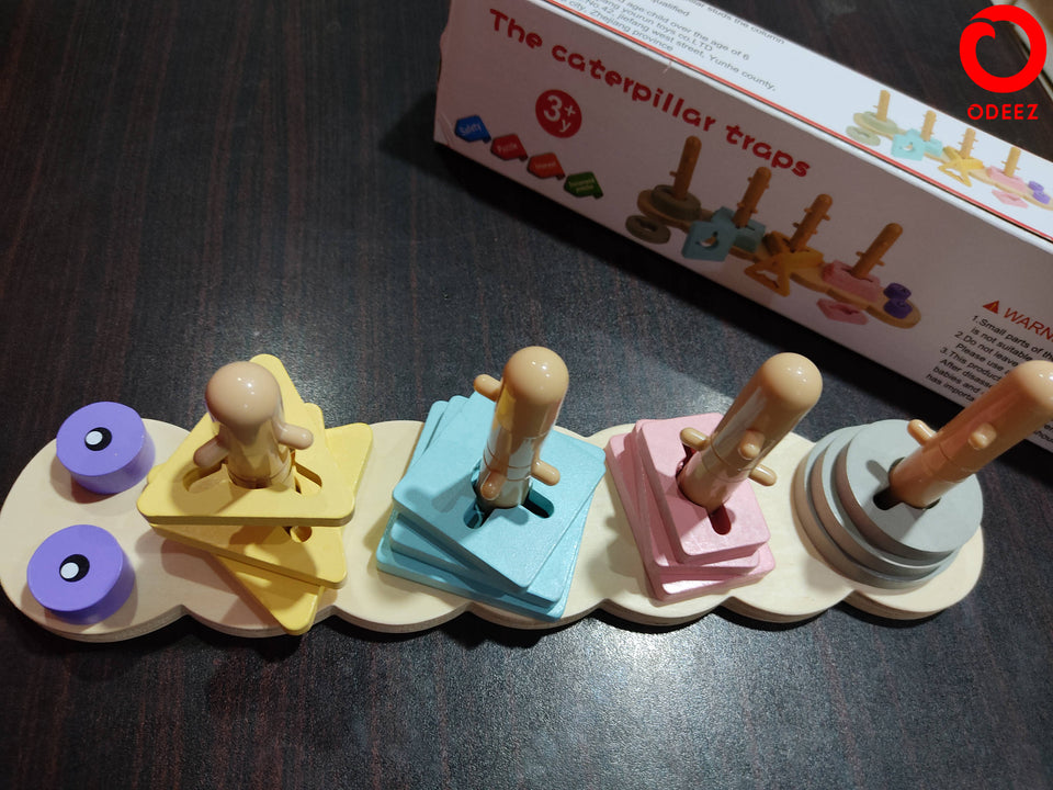 The Caterpillar Traps Wooden Toy