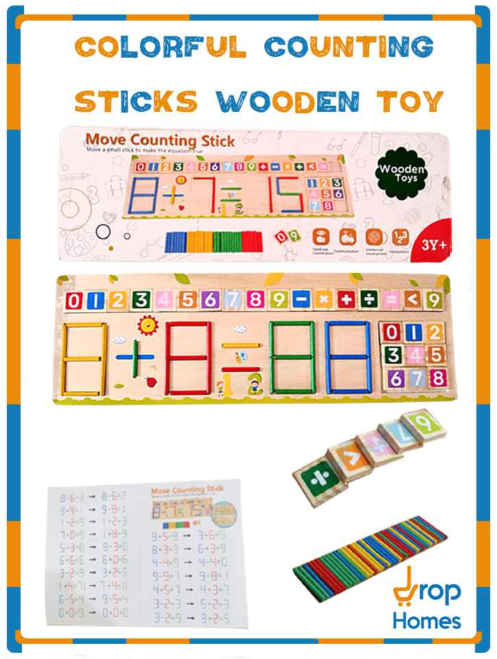 Colorful Counting Sticks Wooden Toy