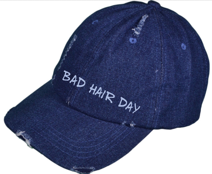 """Bad Hair Day"" distressed hat"