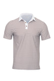 Men's Short Sleeve Slim Fit Stripe Polo With White Collar