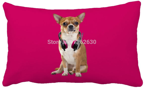 Maroon Hot Pink Chihuahua Dog Decorative Throw Pillow - Swag for My Dog