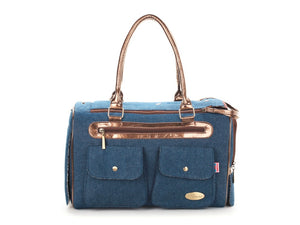 Blue Denim Fashion Dog Carrier Bag - Swag for My Dog