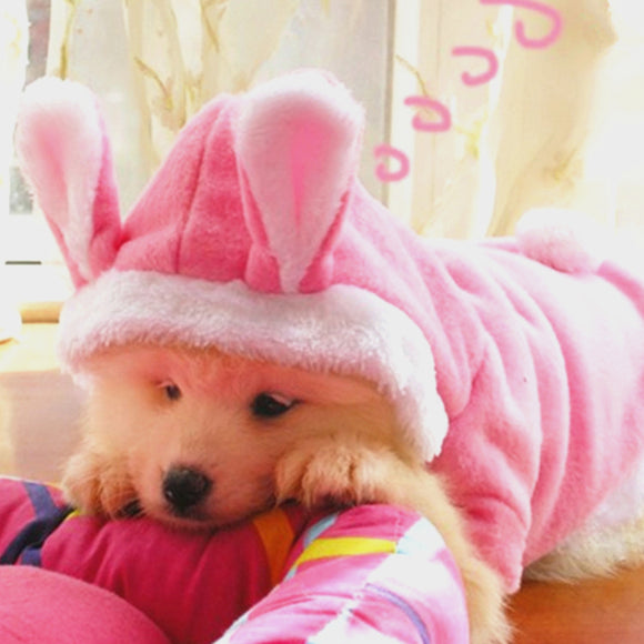 Hooded Fleece Coat for Dogs with Bunny Ears - Swag for My Dog