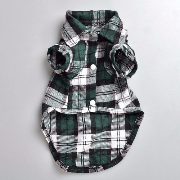 Plaids Grid Shirt Lapel Costume Dog Clothes Festival T-shirt Autumn Spring Summer Clothing Dress For Pet Dog Cat Pets Vestidos - Swag for My Dog