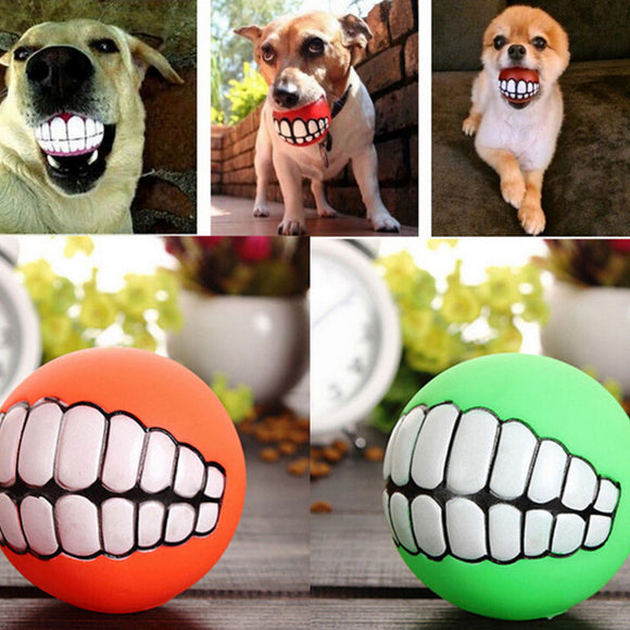 Funny Teeth Dog Ball Chew Toy Squeaker - Swag for My Dog