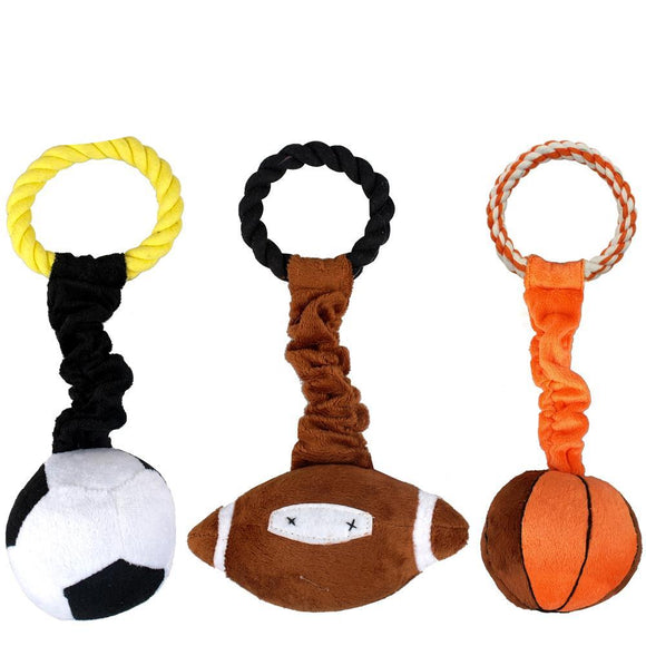 Hot Sport Pet Plush Cotton Braided Rope Ball Dog Playing Squeaker Toy - Swag for My Dog