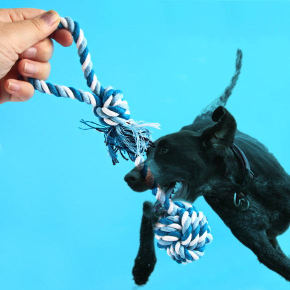 Portable Long Cotton Rope Pet Dog Toy Handle Ball Tooth Cleaning Odontoprisis Bite Dog Training Toy throw/hold in the mouth Toy - Swag for My Dog