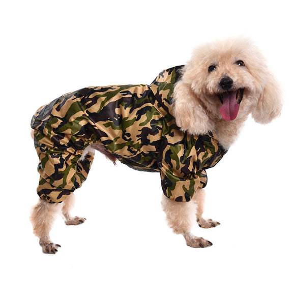 Pets Dog Raincoat Camouflage Jumpsuit  Pet Dog Clothes Puppy Hoodie Rain Coat Small  Middle Dogs Pet Jacket - Swag for My Dog