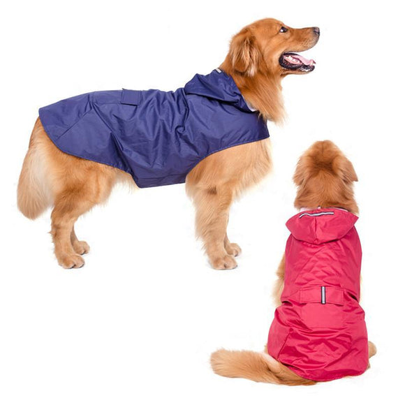 Glorious Kek New Large Dog Raincoat Super Waterproof Hooded Rain Jacket Reflective Pet Clothes Golden Retriever Labrador 3XL-5XL - Swag for My Dog