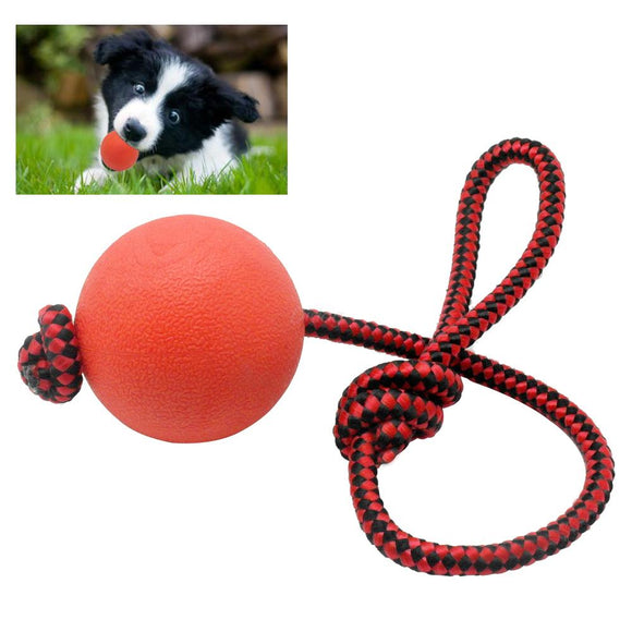 Solid Rubber Dog Chew Training Ball Toys Tooth Cleaning Chew Ball Puppy Pet Play Training Chewing Toy With Rope Handle - Swag for My Dog