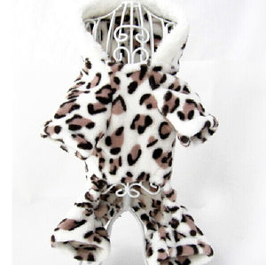 Soft Pets Dog Hoodie Puppy Cat Clothes Fleece Leopard Print Costume Coat Jumpsuit - Swag for My Dog