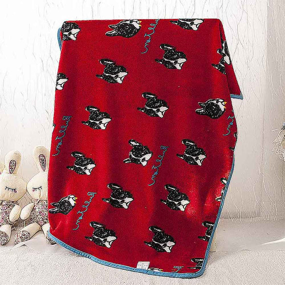 Red French Bulldog Warm Flannel Dog Blanket - Swag for My Dog