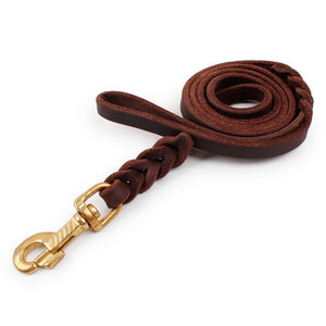 Brown Leather Leash for Pet Walking & Training | For Medium and Large Dogs - Swag for My Dog