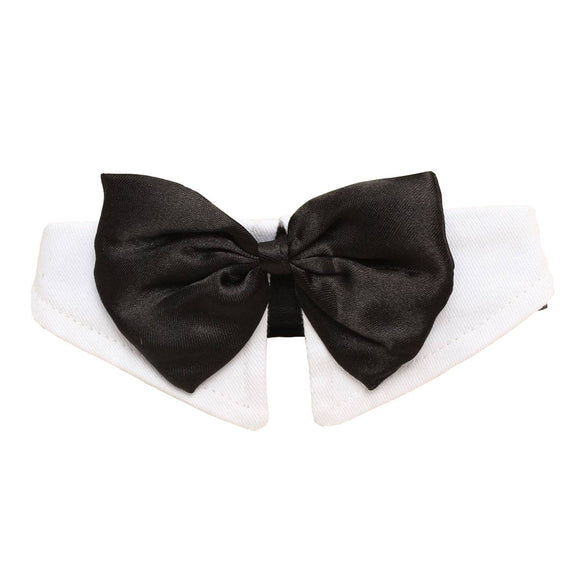 Unique Adjustable Dog Pet Bow Tie Collar Wedding Tuxedo Fancy Dress Costume Necktie Black-white XL - Swag for My Dog